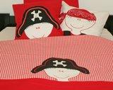 junior dekbedovertrek broertje piraat rood - zaza for kids