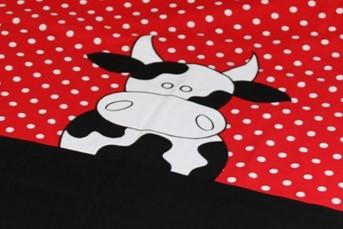 junior dekbedovertrek koe zwart rood - zaza for kids